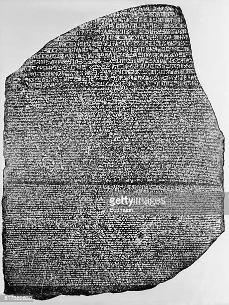 The Rosetta Stone in the British Museum It shows text in 3 versions Hierogyphicx Demotic and Greek This enabled JF Champollion and Thomas Young to...