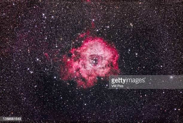 The Rosette Nebula in Monoceros, an emission nebula and site of star formation in the Orion Arm of the Milky Way. The star cluster at the centre of...