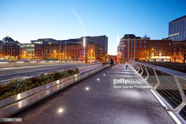 the rosie hackett bridge in dublin city, ireland - david soanes stock pictures, royalty-free photos & images