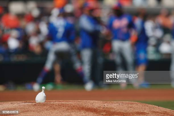 The Rosin bag on the pitcher mound as the New York Mets warm up before the Spring Training game against the Detroit Tigers at Joker Marchant Stadium...