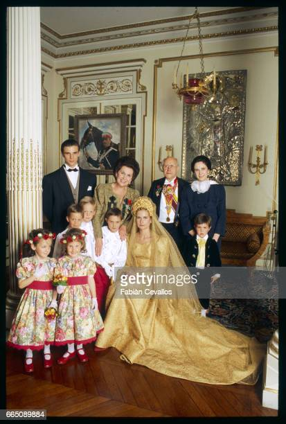 The Rostropovich family including Stefano Elena's husband Galina and Mstislav Rostropovich Elena and bride Olga with flower girls and page boys...