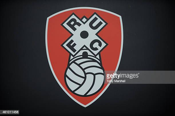 The Rotherham United club badge during the FA Cup Third Round match between Rotherham United and Bournemouth at The New York Stadium on January 3...