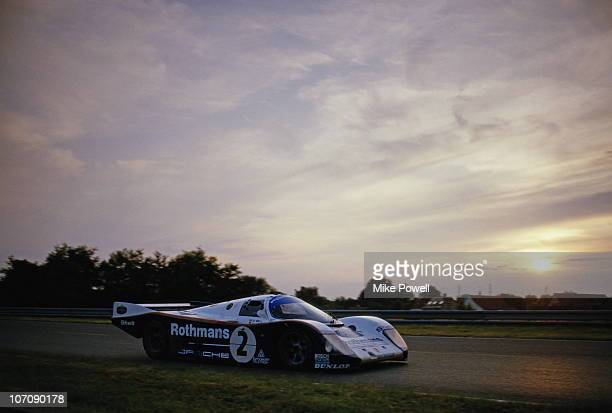 The Rothmans Racing Porsche 962C driven by Derek Bell and HansJoachim Stuck during the World Endurance Championship 24 Hours of Le Mans race on 15th...