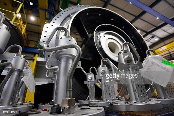 The rotor of a Siemens AG Gas Turbine class H is seen at the German industrial giant Siemens historic construction plant on October 12 2011 in Berlin...
