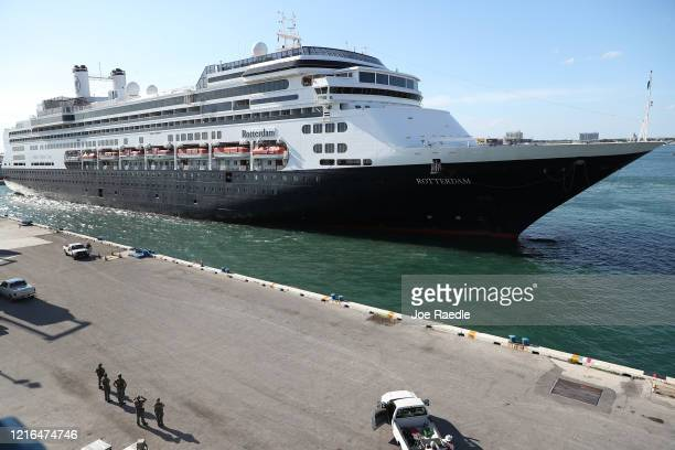 The Rotterdam cruise ship a arrives at Port Everglades on April 02 2020 in Fort Lauderdale Florida The Holland America cruise ship had been at sea...