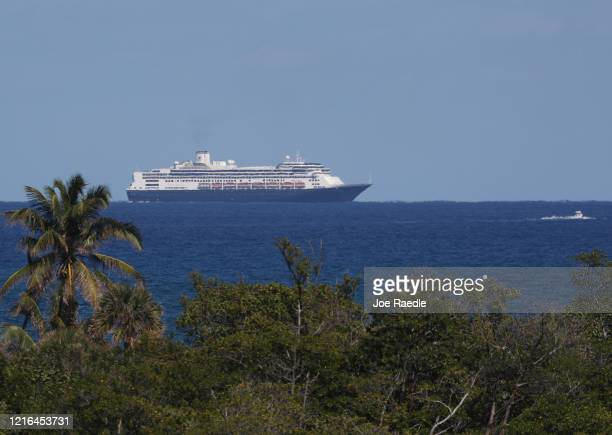 The Rotterdam cruise ship prepares to dock at Port Everglades on April 02 2020 in Fort Lauderdale Florida The Holland America cruise ship had been at...
