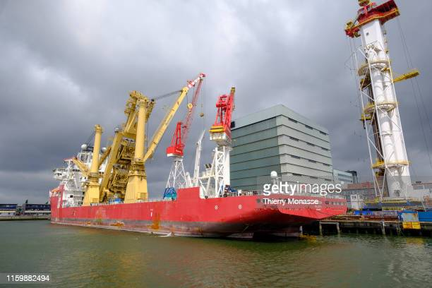 The Rotterdam harbor sightseeing tour on August 2 2019 Here is the 'Amazon' a Pipe Layer