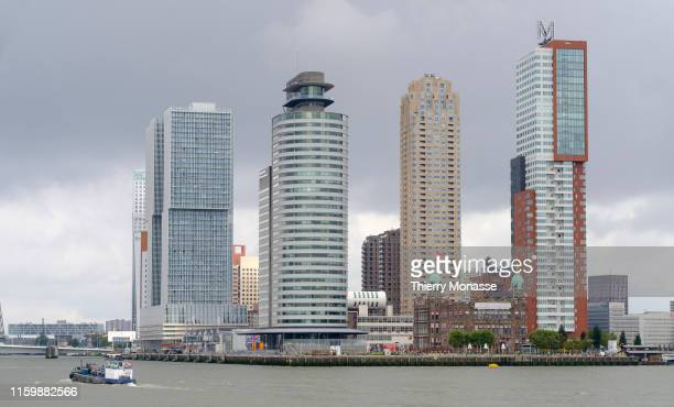 The Rotterdam harbor sightseeing tour on August 2 2019 The building front line with 'De Rotterdam' designed by the Office for Metropolitan...
