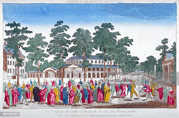 The Rotunda and Ranelagh House in Ranelagh Gardens Chelsea London c1760 Scene during a Jubilee Ball In the foreground a crowd of costumed figures...