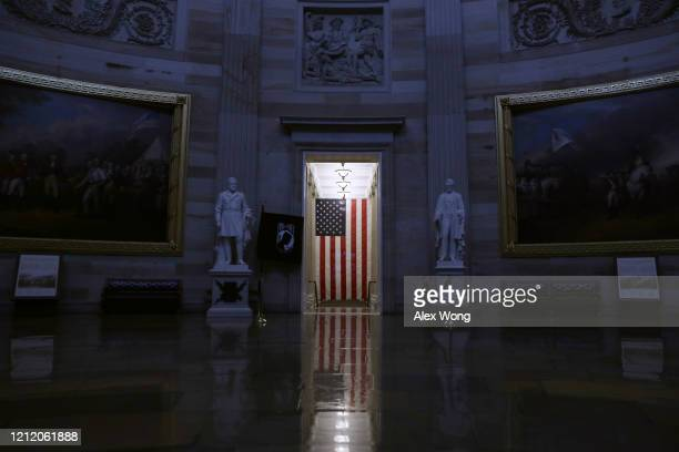 The Rotunda at the US Capitol is empty after the last tour group has passed through March 12 2020 on Capitol Hill in Washington DC The US Capitol...