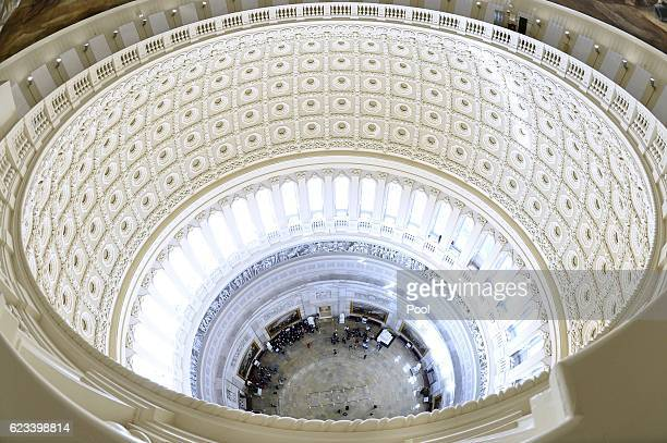 The Rotunda of the US Capitol is seen from the newlyrestored Capitol Dome on November 15 2016 in Washington DC The Architect of the Capitol has...