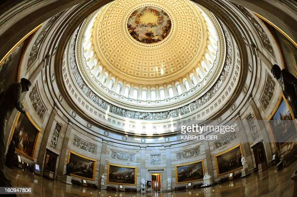 The Rotunda of the US Capitol is seen on July 28 2009 on Capitol Hill in Washington DC Thousands of visitors walk through the Rotunda daily AFP...