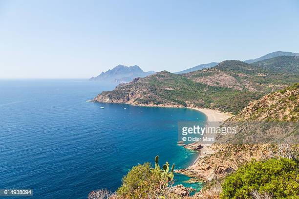 the rough coast of the corsica island in the mediterranean sea - corsica stock-fotos und bilder