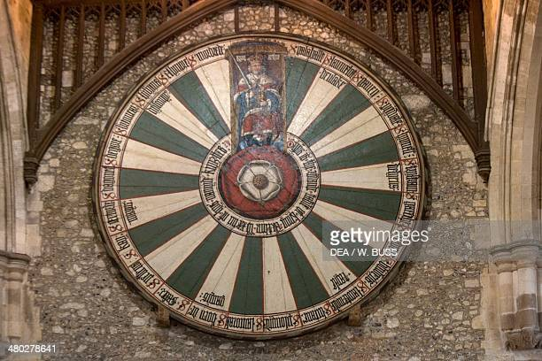 The round oak table painted with the Tudor rose with King Arthur on top and the names of his 24 knights around the outside Great Hall the only...