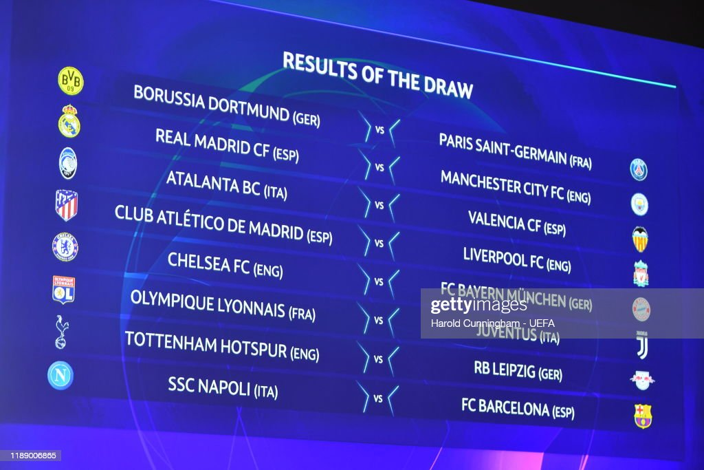 the round of 16 matches on screen during the champions league 2019 20 news photo getty images 2