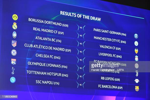 The Round of 16 matches on screen during the Champions League 2019/20 Round of 16 Draw at the UEFA headquarters The House of European Football on...