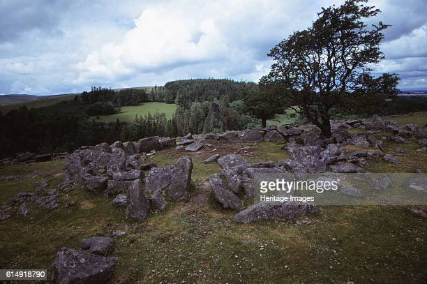 The Round Pound at Kestor Settlement Dartmoor Devon 20th century Bronze Age settlement and farming area consisting of stone lined field systems known...