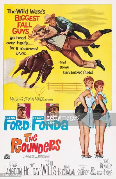 The Rounders poster US poster art from left Glenn Ford Henry Fonda Hope Holiday Sue Ane Langdon 1965