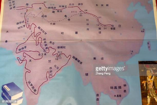 XI'AN SHAANXI PROVINCE CHINA The route map of the famous monk Xuan Zang traveling from Xi'an to India in Tang Dynasty The Buddhist scriptures he took...
