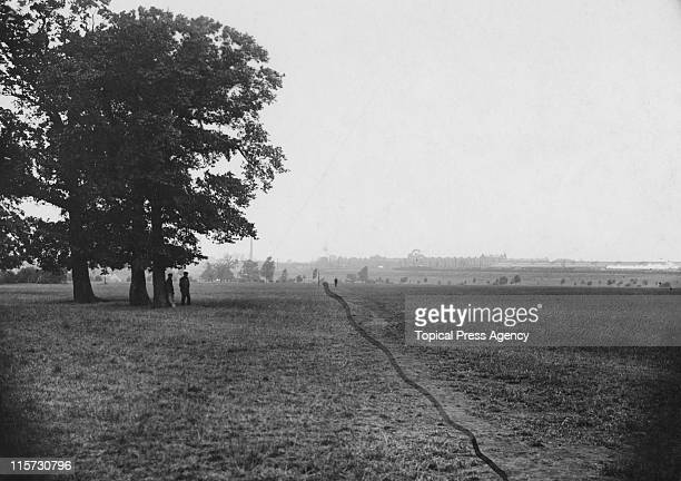 The route of the marathon race across Wormwood Scrubs, during the 1908 Summer Olympics in London, 8th July 1908. The line has been drawn on.