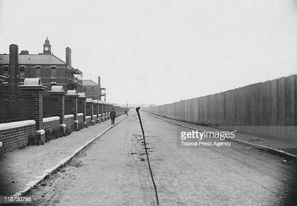The route of the marathon race along Du Cane Road, near Wormwood Scrubs, during the 1908 Summer Olympics in London, 8th July 1908. The line has been...