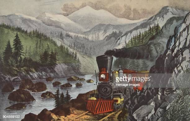 The Route To California Truckee River SierraNevada pub 1871 Currier Ives