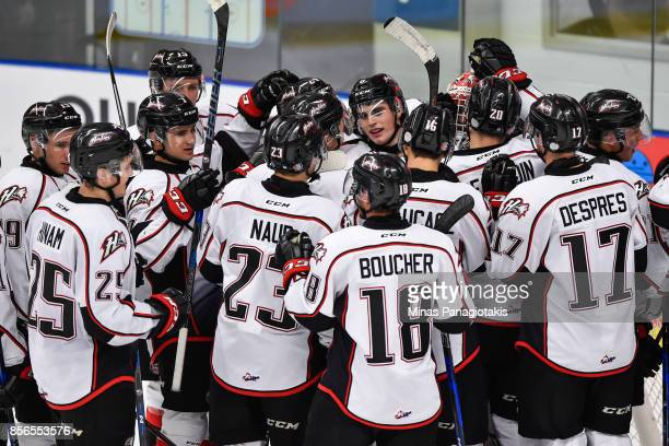 The Rouyn-Noranda Huskies celebrate a victory against the Blainville-Boisbriand Armada during the QMJHL game at Centre d'Excellence Sports Rousseau...