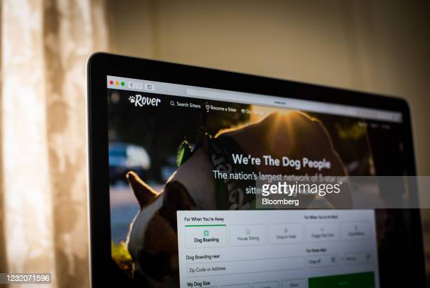 The Rover website on a laptop computer arranged in Dobbs Ferry, New York, U.S., on Thursday, April 1, 2021. One of the signs that Covid-19's hold...
