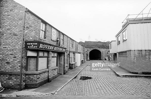 The Rovers Return pub on the set of the TV soap opera 'Coronation Street' Manchester circa 1985