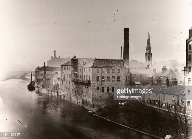 The Rowntrees Cocoa Works Factory North Street overlooking the river Ouse York Yorkshire 1890 The photograph is taken from Lendal bridge The spire of...