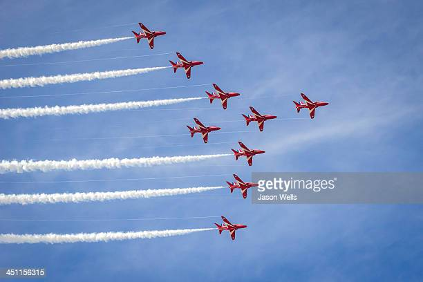 CONTENT] The Royal Air Force aerobatic display team in Big Nine formation at the 2013 Southport airshow