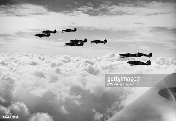 The Royal Air Force In Britain During The Second World War Hawker Hurricane Mk I aircraft of No 85 Squadron Royal Air Force on patrol during the...