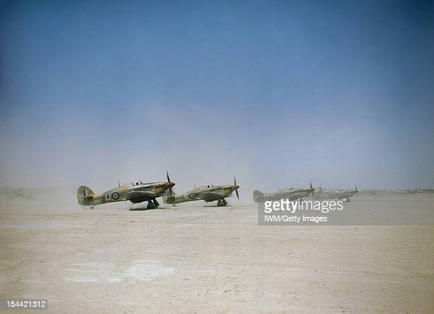 The Royal Air Force In Tunisia April 1943 Hawker Hurricane Mark IIDs of No 6 Squadron Royal Air Force rolling out at Gabes soon after noon on 6 April...