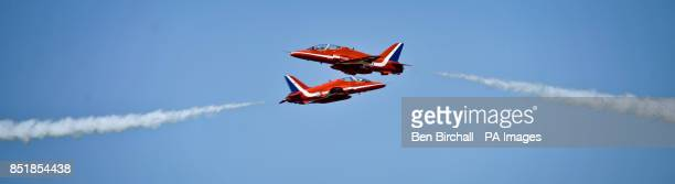 The Royal Air Force Red Arrows Display Team perform at RAF Fairford, Wiltshire, ahead of the Royal International Air Tattoo this weekend.