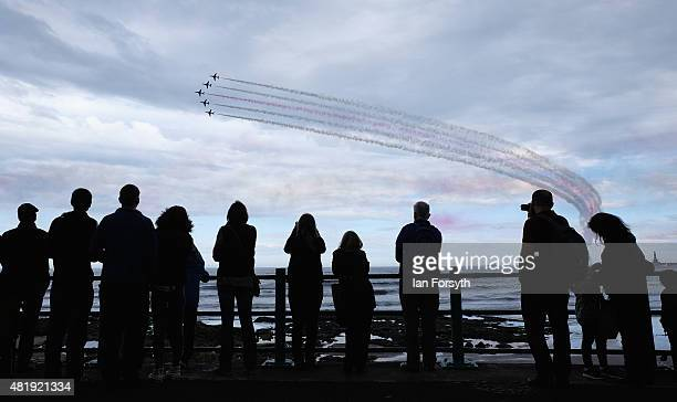 The Royal Air Force Red Arrows entertain crowds during the Sunderland International Air Show on July 25 2015 in Sunderland England Running over three...