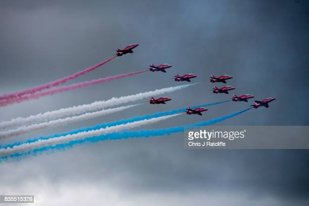The Royal Air Force Red Arrows perform a display at the Biggin Hill Festival of Flight on August 19 2017 in Biggin Hill England The Biggin Hill...