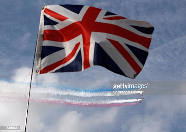 The Royal Air Force Red Arrows perform their first public aerobatic display since the tragic death of Flt Lt Jon Egging on September 2 2011 in...