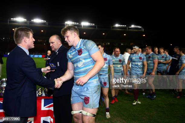 The Royal Air Force Seniors receive their Inter-Services Championship Medals at Twickenham Stoop on April 20, 2018 in London, England.