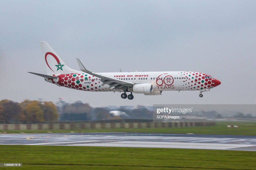 The Royal Air Maroc or RAM Boeing 737-800 is seen landing at... : News Photo