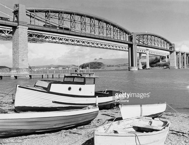 The Royal Albert Bridge by engineer Isambard Kingdom Brunel over the River Tamar between Devon and Cornwall in England 26th March 1968 The Western...