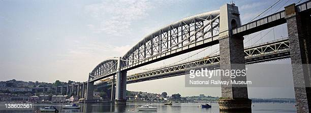 The Royal Albert Bridge spanning the River Tamar viewed from Plymouth 2000 The Royal Albert Bridge spans the River Tamar between Plymouth on the...