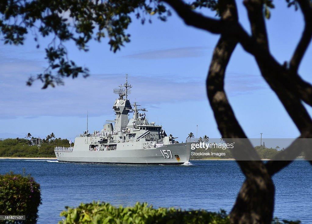 The Royal Australian Navy Anzac-class frigate HMAS Perth. : ストックフォト