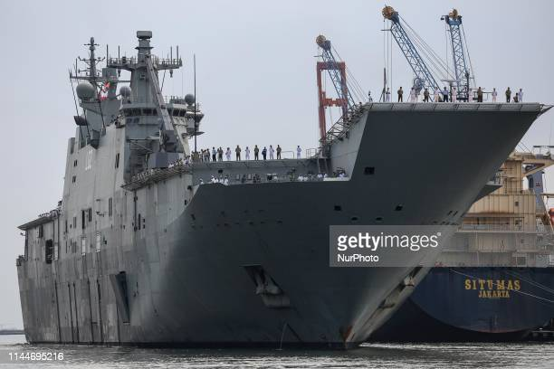 The Royal Australian Navy Ship HMAS Canberra arriving as part of the Indo-Pacific Endeavour 2019 in Tanjung Priok port in Jakarta, Indonesia, on May...