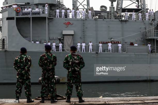 The Royal Australian Navy Ship HMAS Newcastle arriving as part of the Indo-Pacific Endeavour 2019 in Tanjung Priok port in Jakarta, Indonesia, on May...