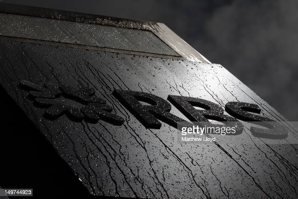The Royal Bank of Scotland logo is covered in raindrops outside their building on Bishopsgate on August 3 2012 in London England The bank has...