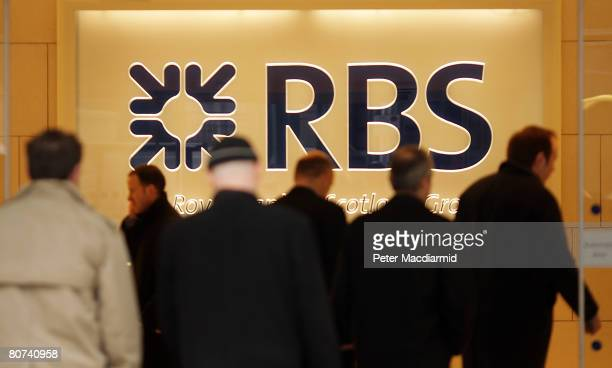 The Royal Bank of Scotland name and logo are displayed at London headquarters on April 18 2008 in England RBS is set to ask investors for extra cash...