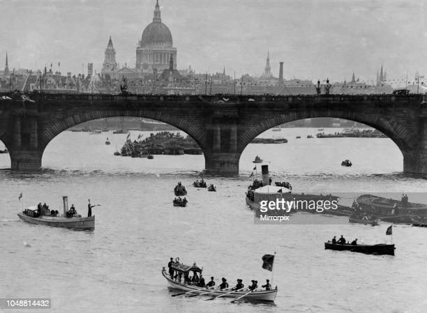 The Royal Barge sailing on the River Thames during the River Pageant. 4th August 1919.