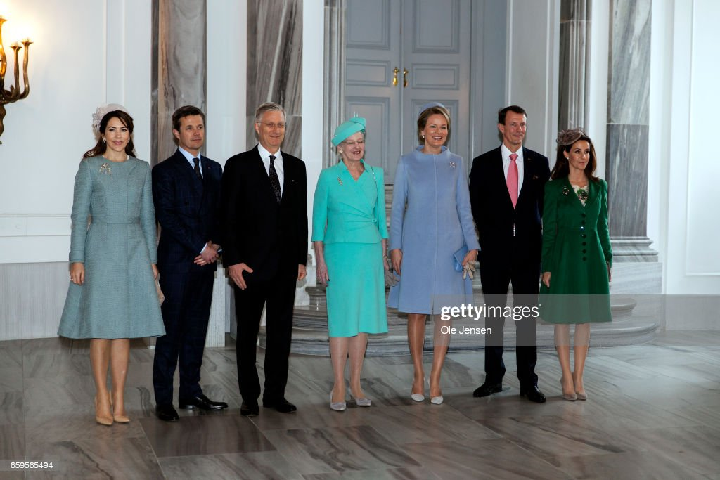 The Royal Belgian and Royal Danish family pose inside Amalienborg Palace reception hall on March 28, 2017 in Copenhagen, Denmark. From R -