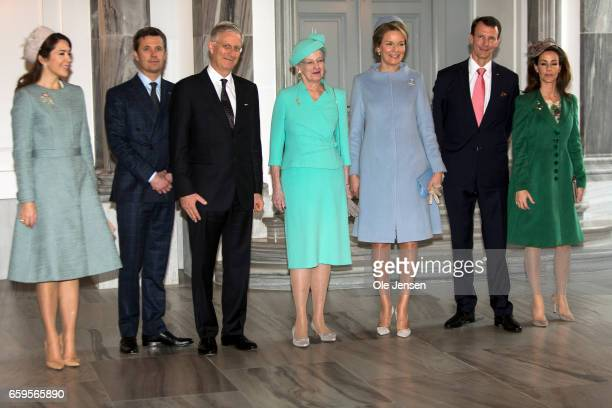 The Royal Belgian and Royal Danish family pose inside Amalienborg Palace reception hall on March 28 2017 in Copenhagen Denmark From R L Crown...