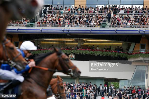 The Royal Box overlooks the start of The Queen's Vase on day 4 of Royal Ascot at Ascot Racecourse on June 23 2017 in Ascot England